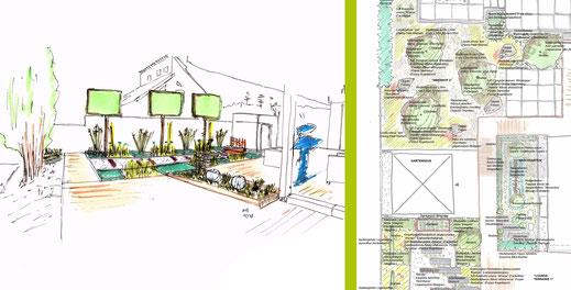 Handskizze Teilbereich Garten I Ausschnitt Pflanzplanung