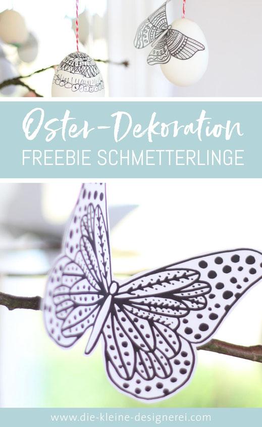 Freebie Osterdeko zum Ausdrucken, Schmetterlinge nach Anmeldung herunterladen unter www.die-kleine-designerei.com