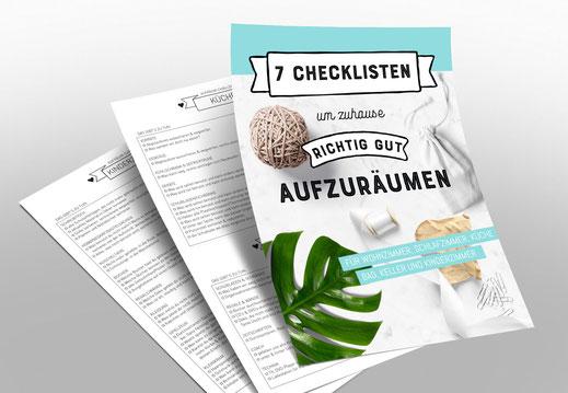 7 kostenlose Checklisten um zuhause richtig gut aufzuräumen. www.alles-zum-ausdrucken.de