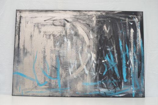 Bild Nr. 8, ANGEKOMMEN, Acryl-Mischtechnik, 80x120 cm