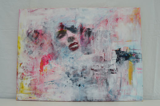 Bild Nr. 27, SEHNSUCHT, Acryl mit Transfertechnik, 60x80 cm