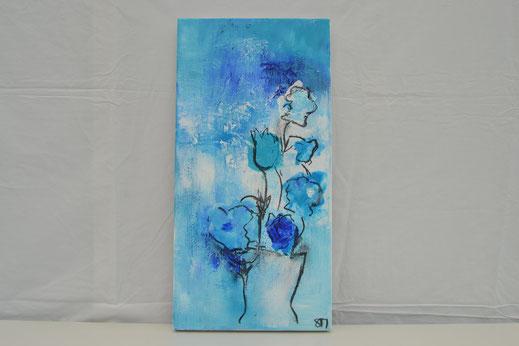 Bild Nr. 16, CELESTE, Acryl mit Kohle, 30x60 cm