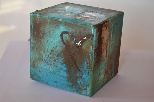 Würfel 2, Rost mit Acryl, 17x17 cm