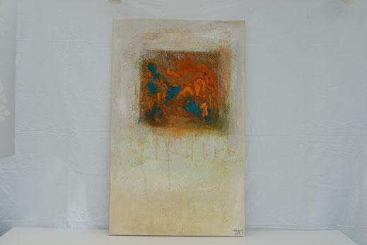 Bild Nr. 3, MELODY I, Rost mit Acryl, 62x100 cm