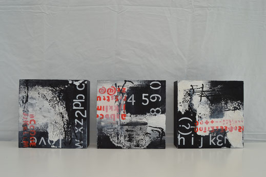 Bild Nr. 30, PLAN A, Acryl auf Holz, je 20x20 cm