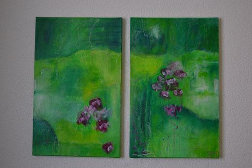 Bild Nr.13, ZAUBERGARTEN, Acryl, je 40x40 cm