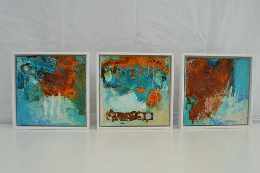 Bild Nr. 32, SOWOHL ALS AUCH,  Rost mit Acryl, je 20x20 cm