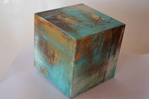 Würfel 3, Rost mit Acryl, 20x20 cm