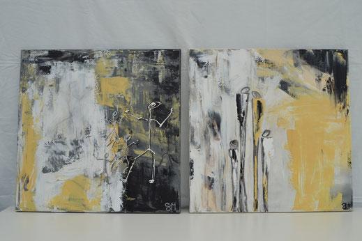 Bild Nr. 18, SINN & WÜRDE, Acryl, je 50x50 cm