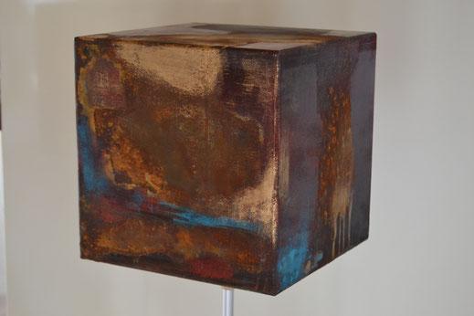 Würfel 1, Rost mit Acryl, 20x20 cm