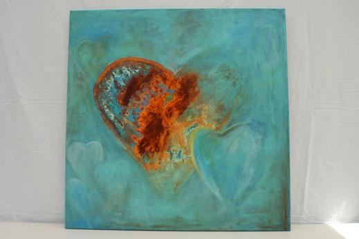 Bild Nr. 26, FORZA, Rost mit Acryl, 80x80 cm