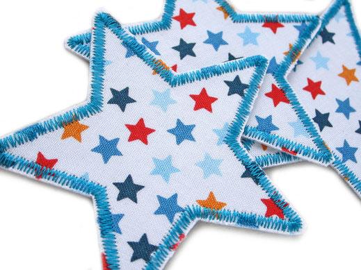 Bild: bunte Stern Bügelbilder, Bügelflicken für Kinder mit bunten Sternen