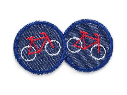 Bügelflicken Jeans mit Fixie Fahrrad auf dunkelblau, Mini Flicken zum aufbügeln für Radfahrer