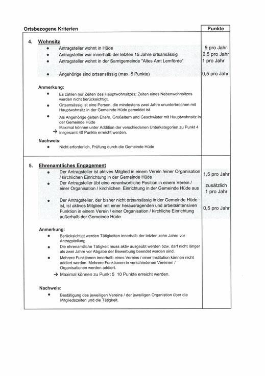 """Vergabekriterien für den Erwerb von Baugrundstücken in Hüde """"Hüder Feld 2"""" und """"Vor dem Ort"""""""