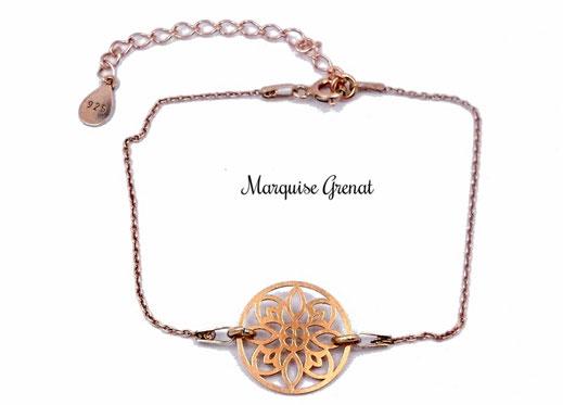 photo-bracelet-fin-en-argent-plaque-or-rose-avec-intercalaire-rosace