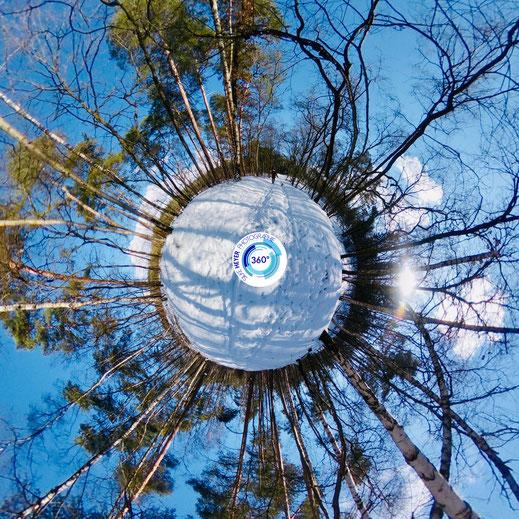 Tiny Planet - 360 Grad - Verden an der Aller im Februar mit Schnee