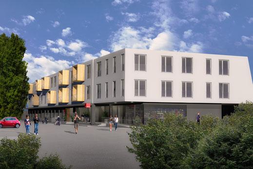 Konstruiertes Bild aus Cinema 4D. Gebäude in seine Umgebung eingebettet. Mit Menschen, Bäumen und Himmel