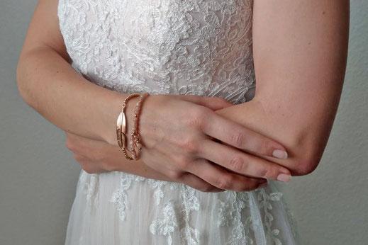 halbedelstein schmuck armband feder chouette hochzeit armband sonnenstein rosegold