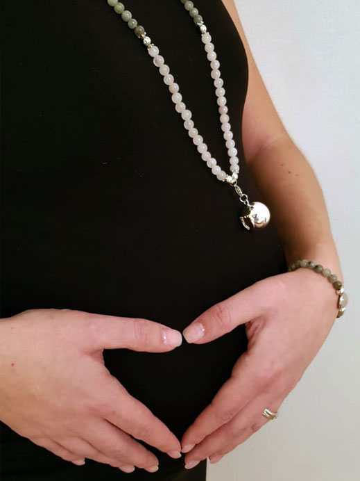 chouette schmuck armband halskette bola klangkugel schwanger halbedelsteine mondstein rosenquarz silber