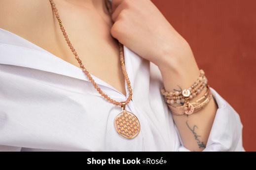 sonnenstein rosegold rosa edelstein blume des lebens boho schmuck chouette
