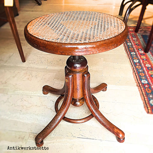 Art Nouveau Thonet rattan stool