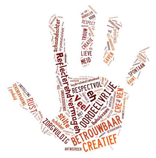 Hand met eigenschappen van Joke Zonneveld, toegekend door mensen uit haar omgeving: betrouwbaar, creatief, oordeelvrij, refecterend vermogen, rust, trouw, spontaan