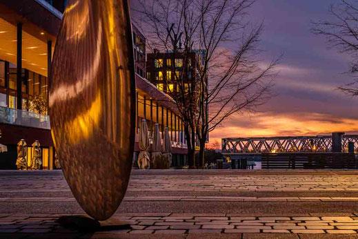 Hamburg Maritimes Museum Elbarkaden Brücke Sonnenaufgang Schiffsschraube