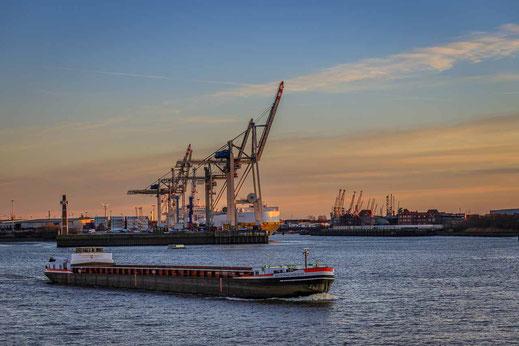 Schiff Hafen Elbe Kran Verladung Hamburg