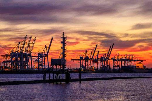 Elbe Kran Kräne Anleger Ebbe Schifffahrt Container Terminal