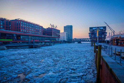 Hafencity Greenpeace Brücke Eis Schollen