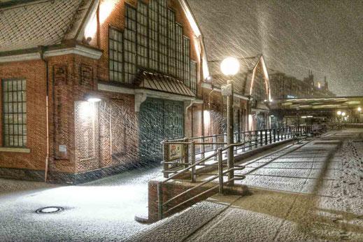 Schneefall Morgenstunden Deichtorhallen Hamburg