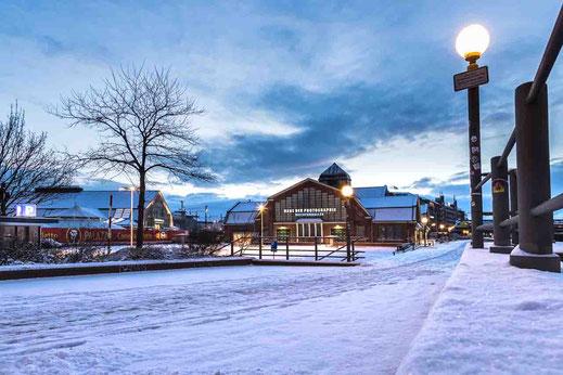 Deichtorhallen Schnee Kalt Morgen Lampe Winter Hamburg