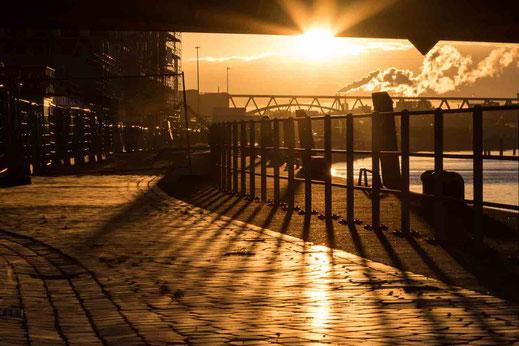 Bruecke Gelaender Hafen Sonnenlicht Hamburg