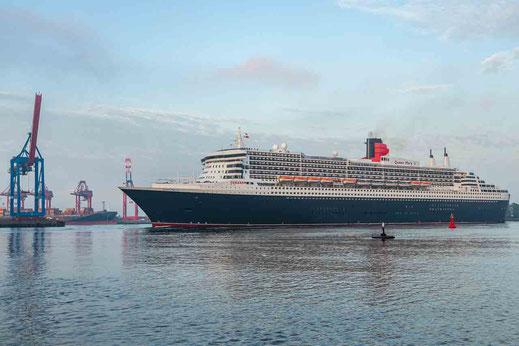 Kreuzfahrtschiff mit Containerkränen in Hamburg