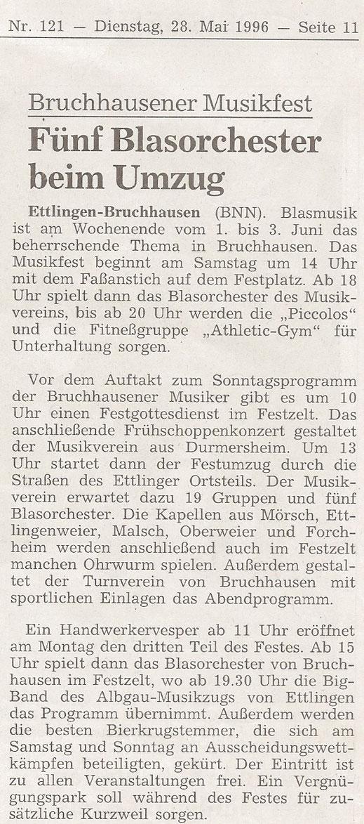 BNN Vorbericht 28.05.1996 - 85 Jahre Musikverein