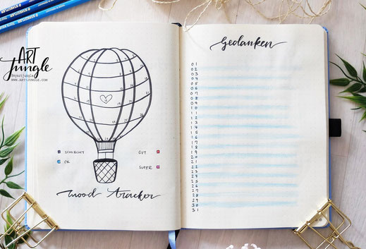 bullet journal July Mood Tracker Heißluftballon Hot air balloon