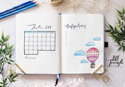 bullet journal July Monthlyspread Monat Heißluftballon Hot air balloon