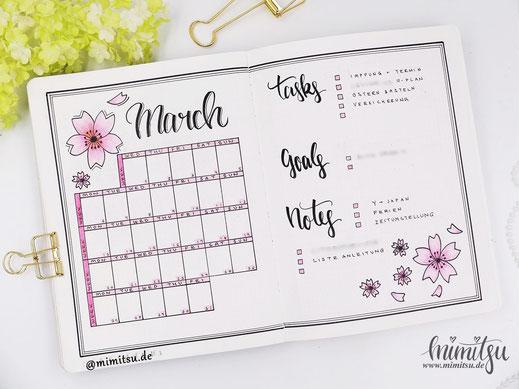 Bujo, Bullet Journal Sakura Kirschblüten Cherry Blossom, Monthly