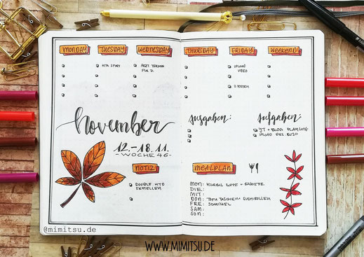 November Bullet Journal Wochenübersicht - Weeklyspread - weekly november bujo