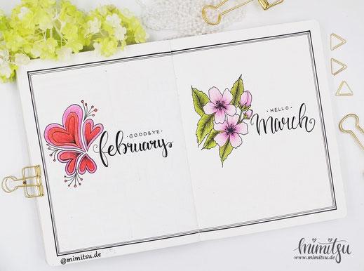 Bullet Journal, Bujo März Cover Blüten Kirschblüten, Blossom Sakura, Goodbye February, Hello March
