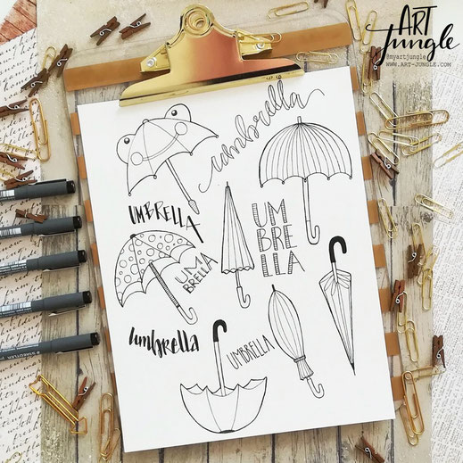Regenschim Doodle Illustration Umbrella
