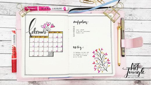 Bullet Journal Februar Setup Monthlyspread Monatsübersicht Monat