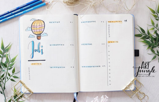 bullet journal July Weeklyspread Heißluftballon Hot air balloon