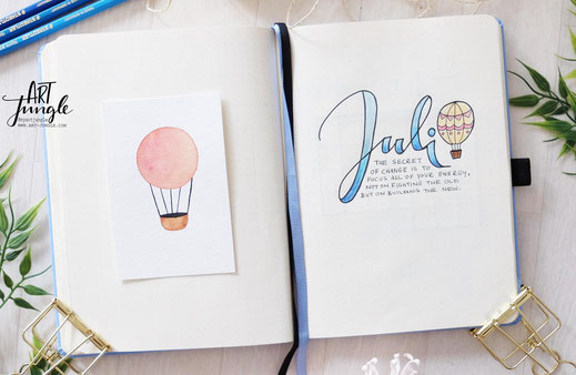 bullet journal Juli Cover Heißluftballon Hot air balloon