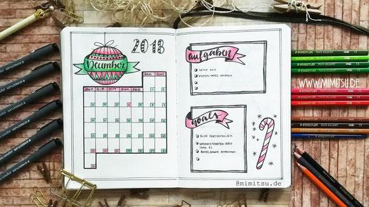 Bullet Journal Dezember Setup Monthlyspread Monatsübersicht Monat