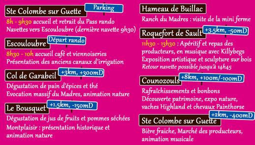 Programme Tour des Villages en Pyrénées Audoises 2019