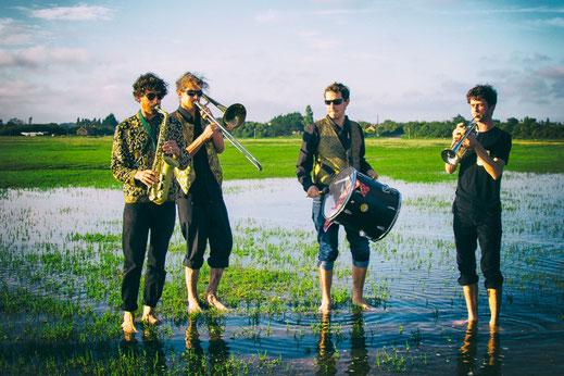 Vier Musiker stehen in den Salzwiesen von Saint-Germain-sur-Ay in der Normandie.