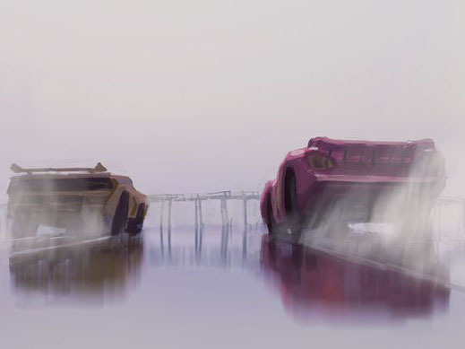 Cars 3 concept art, Cruz Ramirez (l) en Lightning McQueen (r)