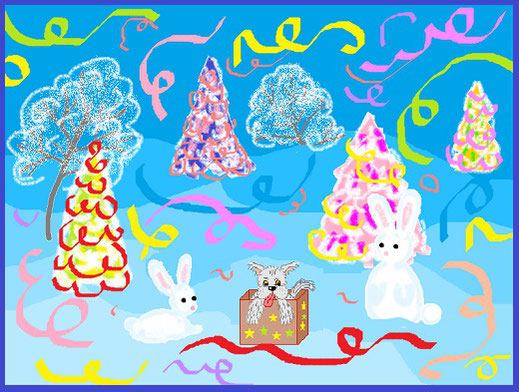Новогодний подарок. Иванова Марина, 4 класс  (MS Paint)