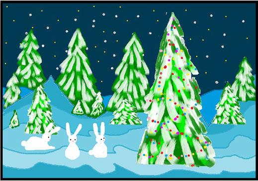 Зимний лес. Попель Ксения, 3 класс  (MS Paint)